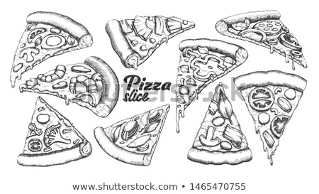 assortment different slice pizza set ink vector stock photo © pikepicture