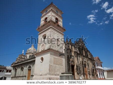 Kathedraal la kerk bel Blauw skyline Stockfoto © benkrut