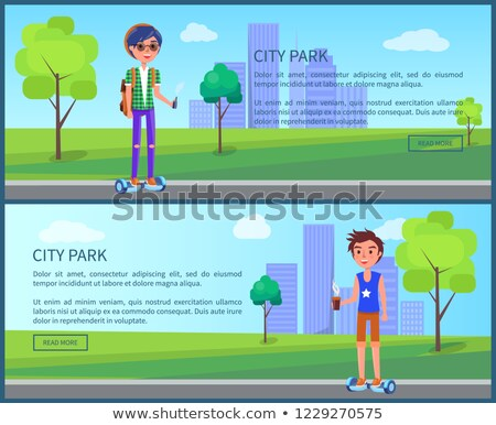 City Park Students in Town Posters Set Vector Stock photo © robuart