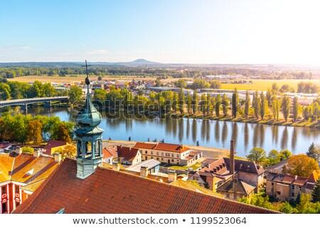 Historisch huis Tsjechische Republiek hoofd- vierkante hemel Stockfoto © borisb17