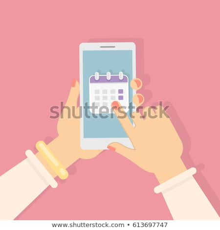 Hand holding tablet with timetable concept Stock photo © ra2studio