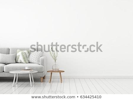 диване · изолированный · белый · кровать · ткань - Сток-фото © dolgachov