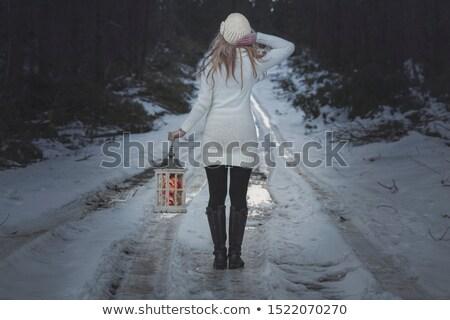 Kadın yürüyüş buz gibi yol kış fener Stok fotoğraf © lovleah