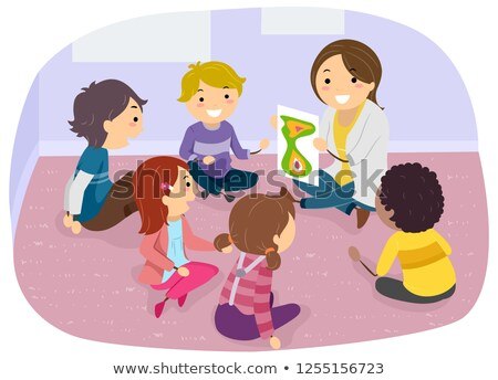 Stickman Kids Room Group Counseling Illustration Stock photo © lenm