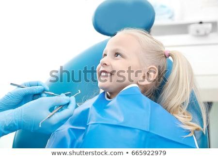 kleines · Mädchen · Zahnarzt · glückliche · Familie · besuchen · weiblichen - stock foto © andreypopov