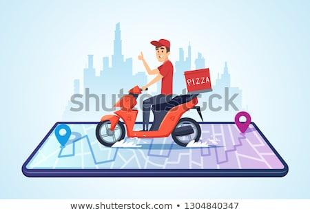 Futár okostelefon csomag város posta szolgáltatás Stock fotó © dolgachov