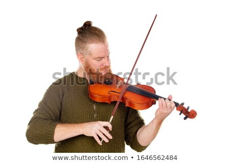 Man with violin isolated on white Stock photo © Elnur