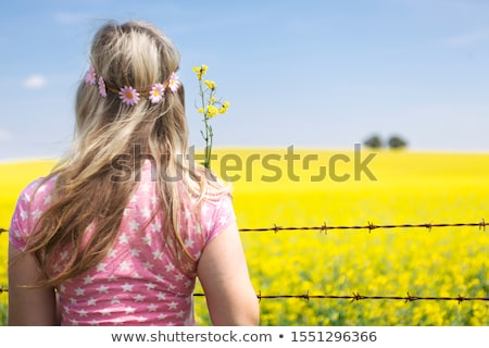 woman at barbed wire fence looking at canola field stock photo © lovleah