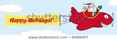Mikulás repülés karácsony repülőgép szalag csatolva Stock fotó © hittoon