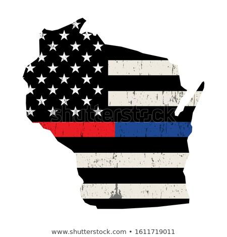 Wisconsin strażak wsparcia banderą ilustracja amerykańską flagę Zdjęcia stock © enterlinedesign