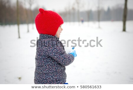 A boy walks in a snow-covered glade and having fun in the snow Stock photo © ElenaBatkova