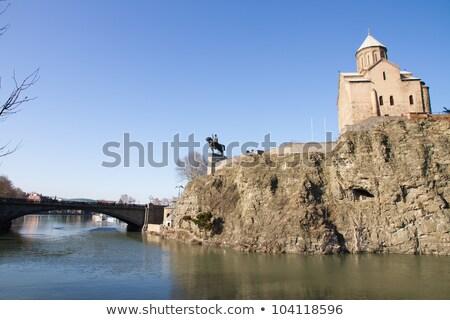 Szűz templom Grúzia szirt fennsík fölött Stock fotó © borisb17