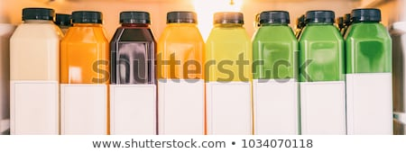 ストックフォト: Juice Bottles For Detox Cleanse Juicing Trend - Healthy Diet Food Delivery At Home In Fridge Banner