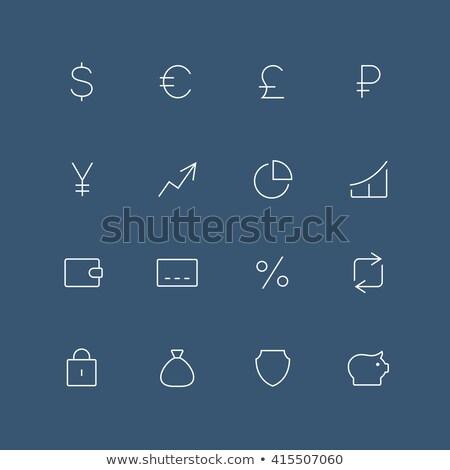 átutalás különböző pénznemek ikon vektor skicc Stock fotó © pikepicture