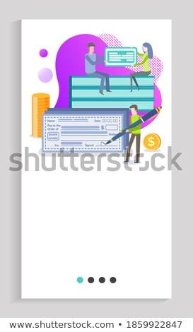 豊富な 男 署名 法案 銀行 ベクトル ストックフォト © robuart