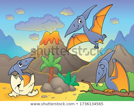 Pterodactyls near volcano image 1 Stock photo © clairev