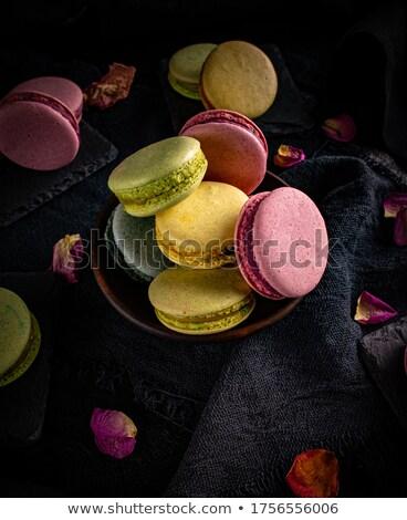 классический французский macarons черный натюрморт сэндвич Сток-фото © grafvision