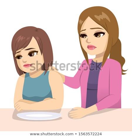 Aggódó anya tinédzser eszik tini lánygyermek Stock fotó © Kakigori