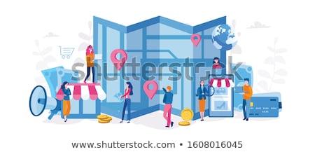 Boutique en ligne vecteur métaphore Ouvrir la ligne Photo stock © RAStudio