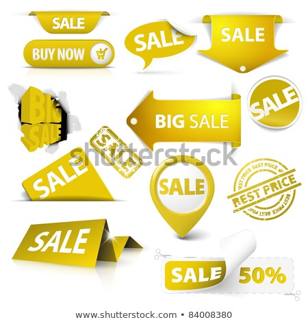 Collection of vector golden yellow sale tickets, labels, stamps Stock photo © orson
