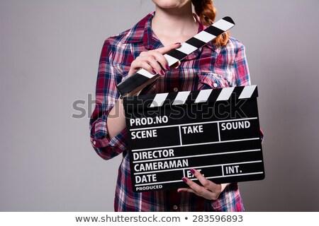 gyönyörű · lány · kockás · póló · film · kamera · fehér · nő - stock fotó © RuslanOmega