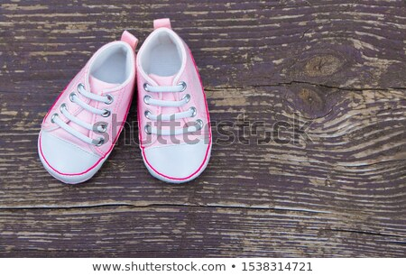 baba · sport · cipők · fából · készült · szöveg · kék - stock fotó © hasenonkel