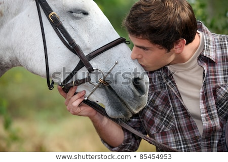homme · cheval · illustration · coucher · du · soleil · cheval - photo stock © photography33