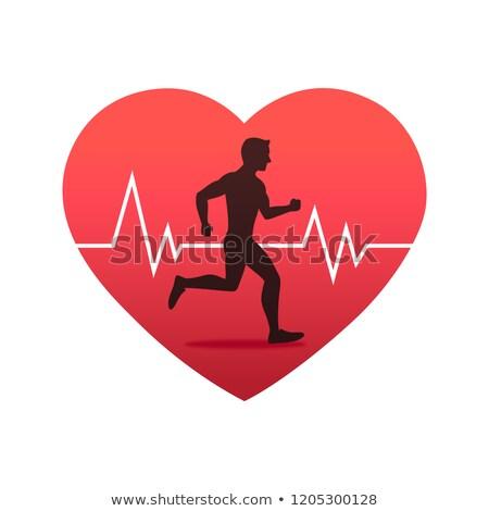 Vetor batida de coração corrida homem eletrocardiograma abstrato Foto stock © freesoulproduction