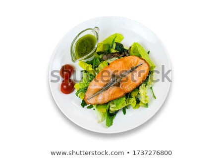 grilled salmon with mushrooms and cherry tomatoes stock photo © phbcz