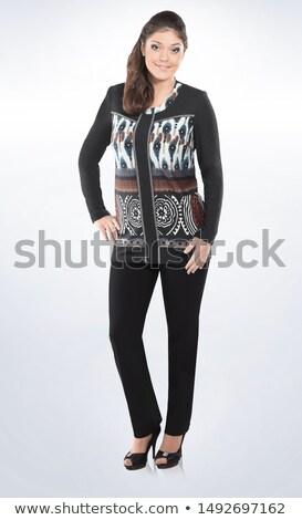 provocante · elegante · mulher · loira · jaqueta · de · couro · câmera - foto stock © stryjek