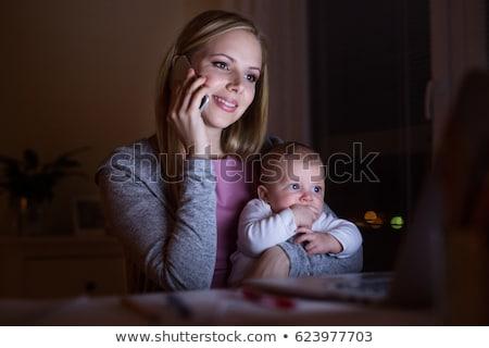 Anya fiú készít telefonbeszélgetés nő család Stock fotó © photography33