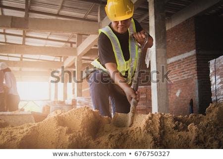 mężczyzna · pracownik · budowlany · łopata · sexy · budowy · skok - zdjęcia stock © photography33