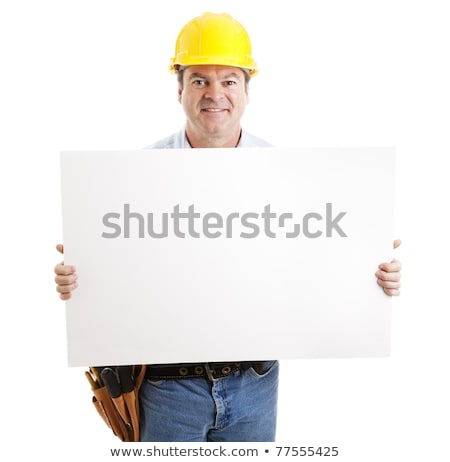 Electrician with white sign Stock photo © photography33
