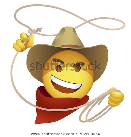 Zdjęcia stock: Cowboy Smiley Face Vector Illustration