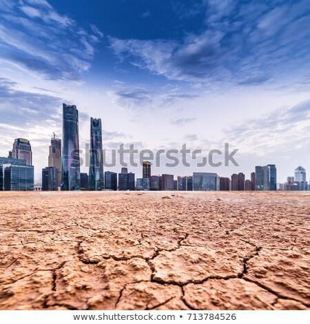 Ville désert terres sécher ciel bleu lourd Photo stock © stevanovicigor
