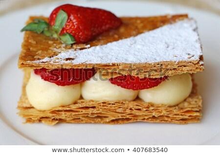 zure · room · frambozen · blad · vruchten · cake · Rood - stockfoto © m-studio