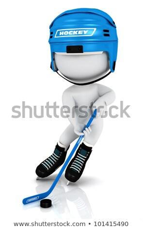 Stockfoto: 3D · witte · mensen · spelen · hockey · stick