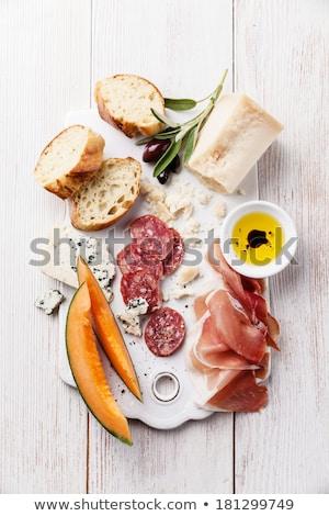 aceitunas · pan · placa · romero · alimentos - foto stock © chrisjung