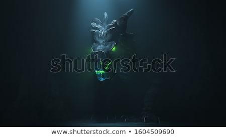 Stock fotó: Hátborzongató · sárkány · zöld · iguana · faág · test