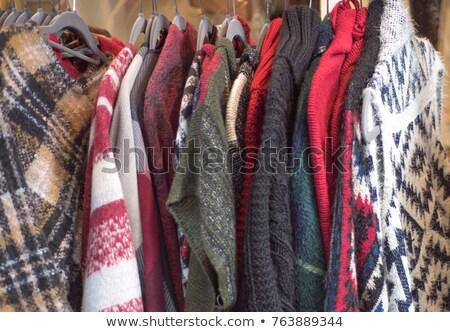 woman in a red-orange wool sweater stock photo © imarin