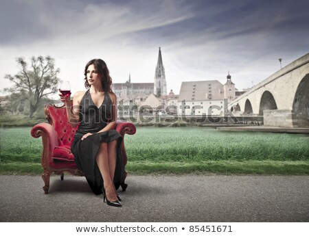 Antique armchair on the road Stock photo © konradbak