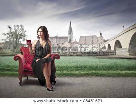 антикварная · кресло · стены · мебель · подушка · белый - Сток-фото © konradbak