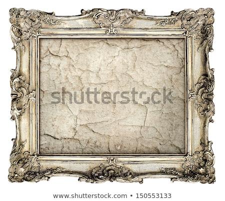 Stockfoto: Old Cracked Gilded Frame On White