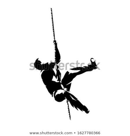 crossfit rope climb exercise in fitness gym stock photo © lunamarina