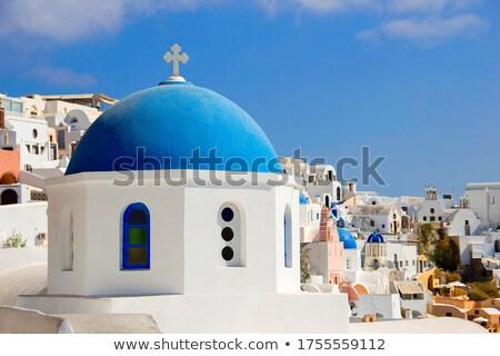ストックフォト: クローズアップ · サントリーニ · 教会 · 伝統的な · 青 · 市