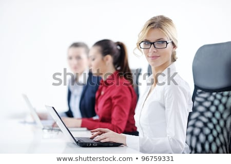 secretário · telefone · branco · terno · falante · feminino - foto stock © wavebreak_media
