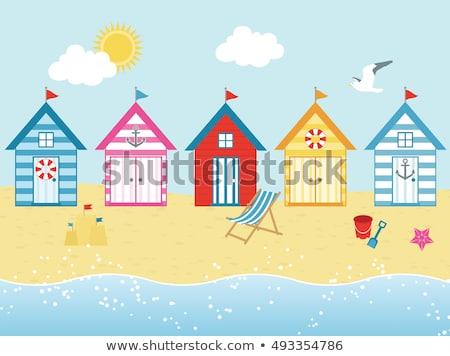 renkli · plaj · mavi · gökyüzü · üç · üst - stok fotoğraf © rogerashford
