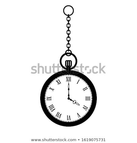 vintage · relógio · de · bolso · isolado · branco · mãos · relógio - foto stock © jonnysek