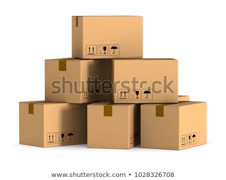 Karton dobozok fából készült paletta izolált fehér Stock fotó © Marfot