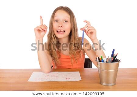 kind · vergadering · tabel · idee · trekken · geïsoleerd - stockfoto © doupix
